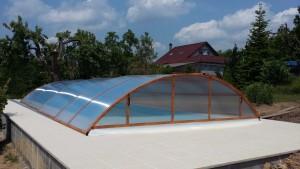 Zastřešení bazénu Poolor Classic dřevodekor