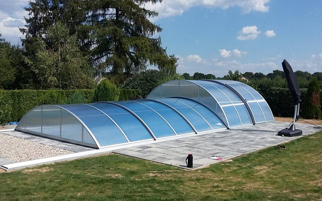 Zastřešení bazénu POOLOR Lokomotiva – kombinované zastřešení